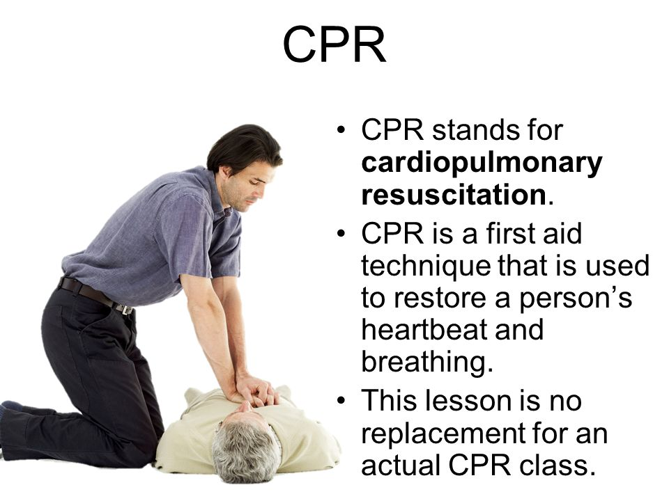 CPR CPR stands for cardiopulmonary resuscitation.