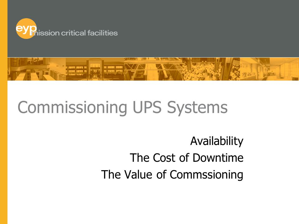 Commissioning UPS Systems