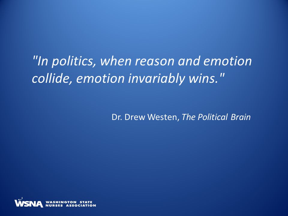 In politics, when reason and emotion collide, emotion invariably wins