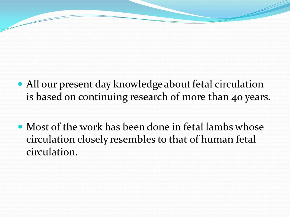 All our present day knowledge about fetal circulation is based on continuing research of more than 40 years.