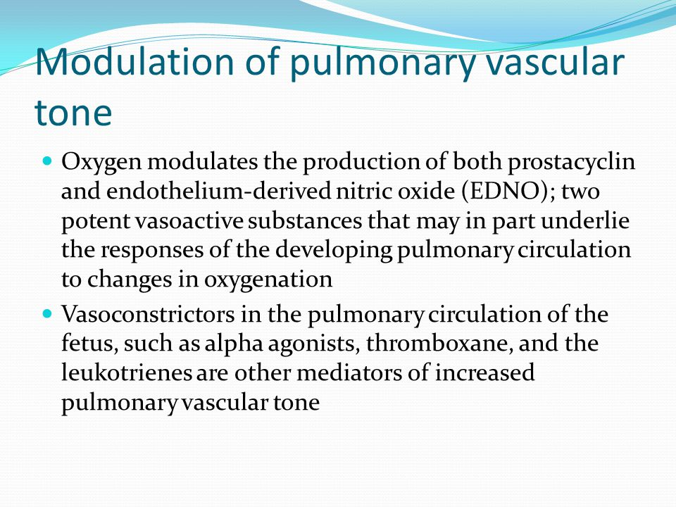 Modulation of pulmonary vascular tone