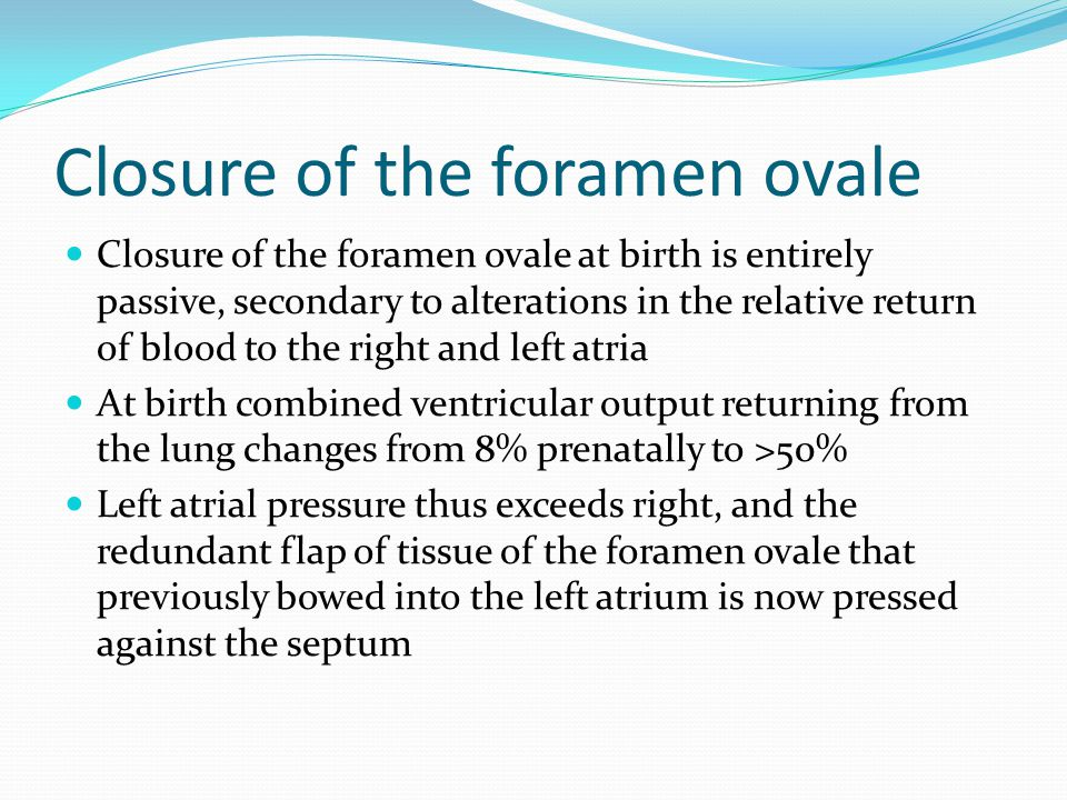 Closure of the foramen ovale