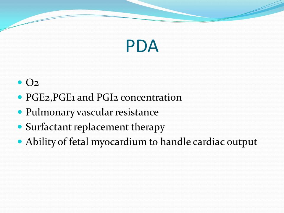 PDA O2 PGE2,PGE1 and PGI2 concentration Pulmonary vascular resistance