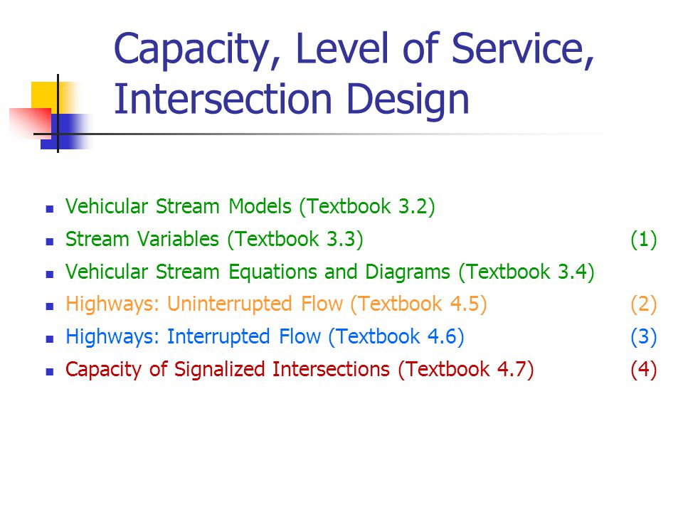 Capacity, Level of Service, Intersection Design