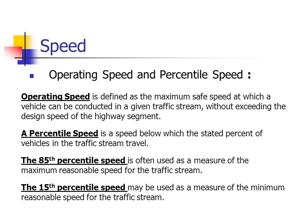 Speed Operating Speed and Percentile Speed :