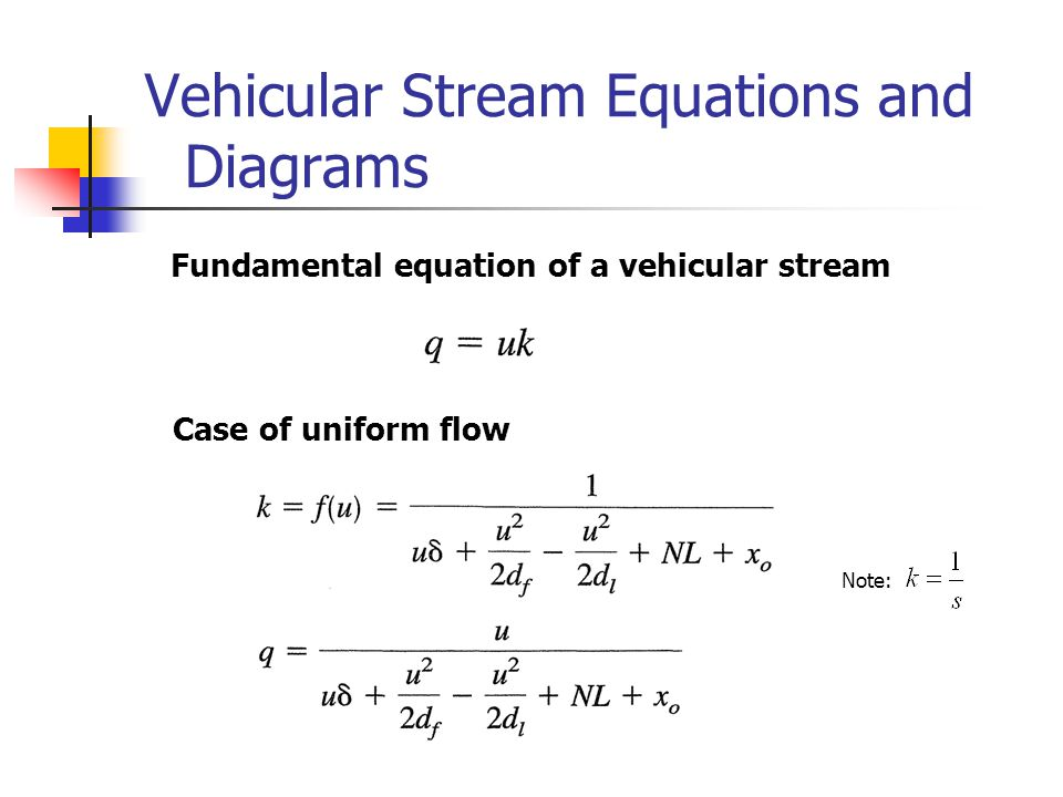 Vehicular Stream Equations and Diagrams