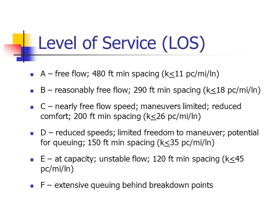 Level of Service (LOS) A – free flow; 480 ft min spacing (k<11 pc/mi/ln) B – reasonably free flow; 290 ft min spacing (k<18 pc/mi/ln)