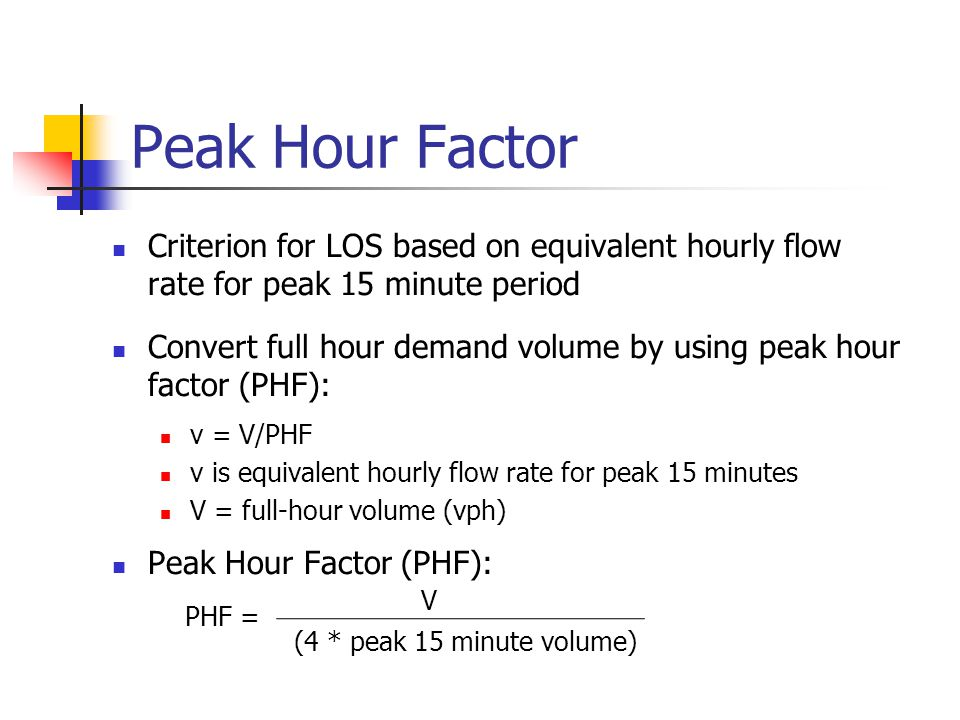 Peak Hour Factor Criterion for LOS based on equivalent hourly flow rate for peak 15 minute period.