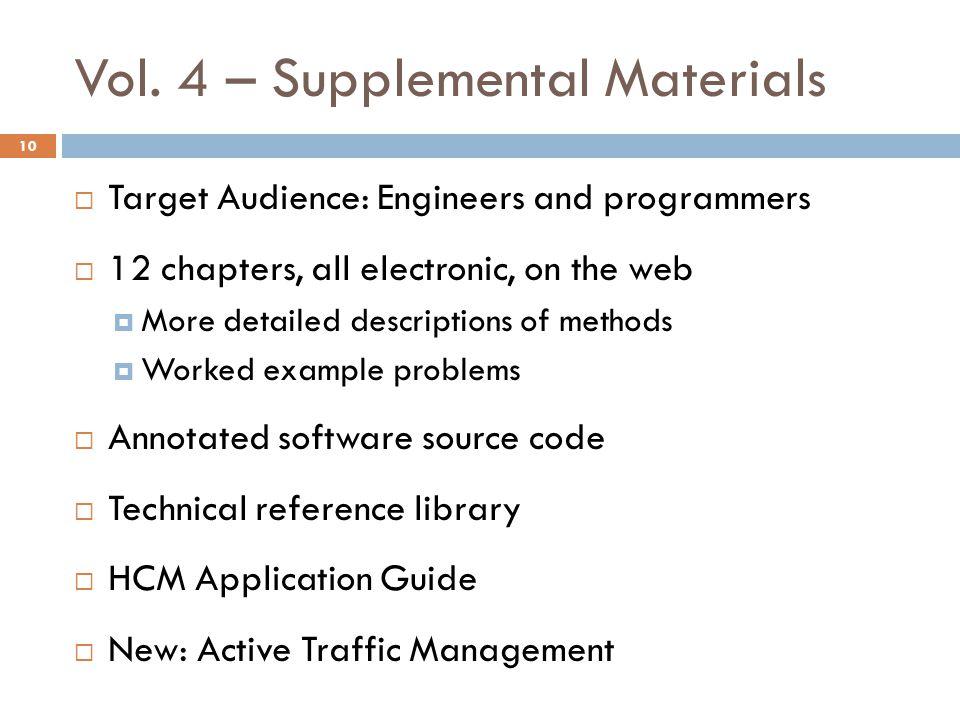 Vol. 4 – Supplemental Materials