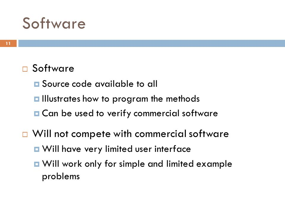Software Software Will not compete with commercial software