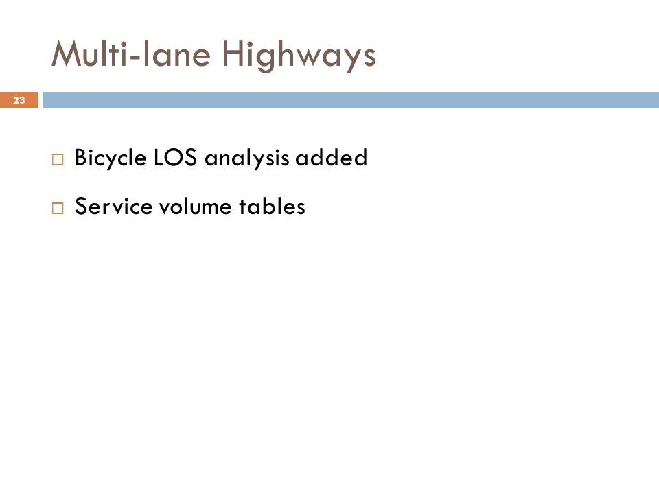 Multi-lane Highways Bicycle LOS analysis added Service volume tables