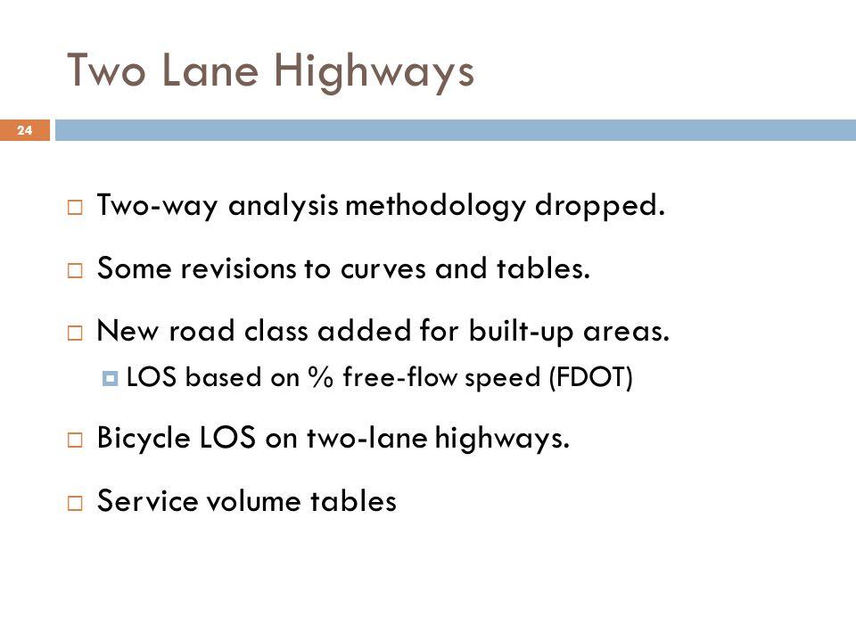Two Lane Highways Two-way analysis methodology dropped.