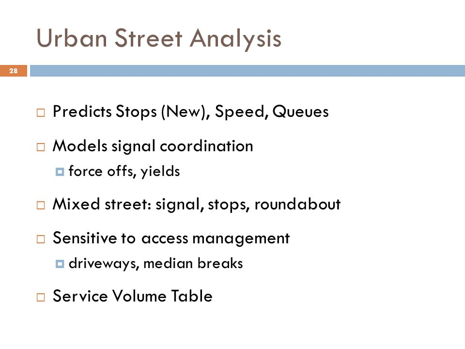 Urban Street Analysis Predicts Stops (New), Speed, Queues