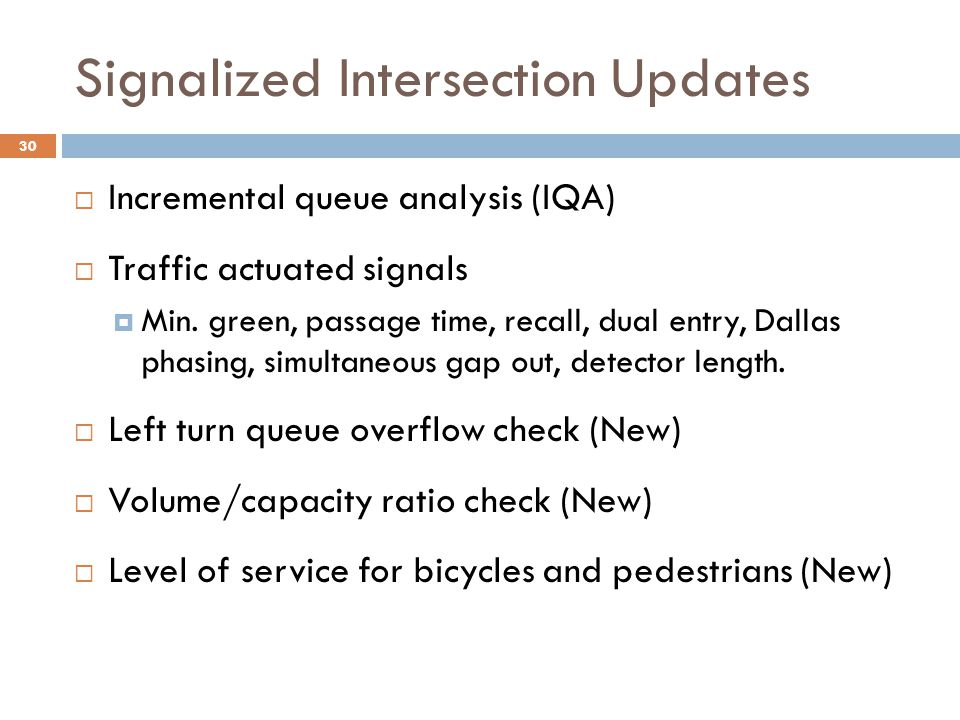 Signalized Intersection Updates