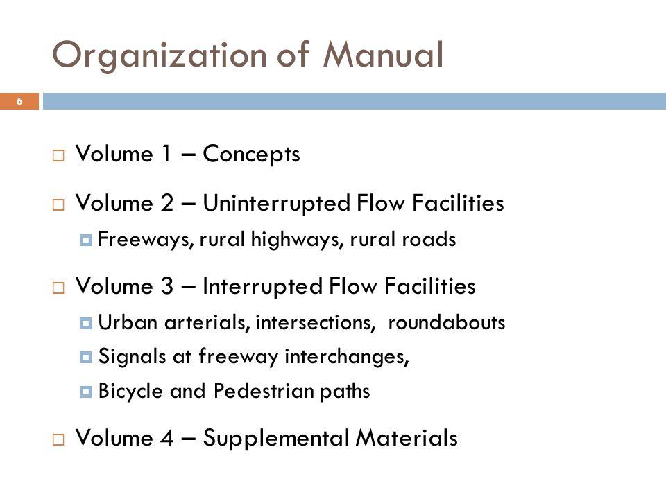 Organization of Manual
