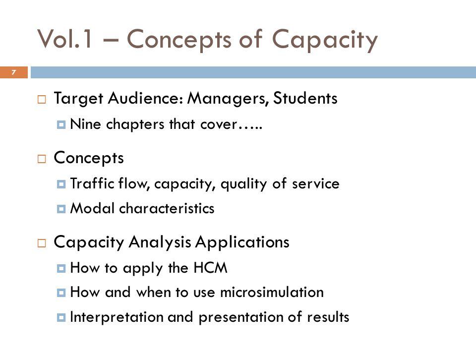 Vol.1 – Concepts of Capacity