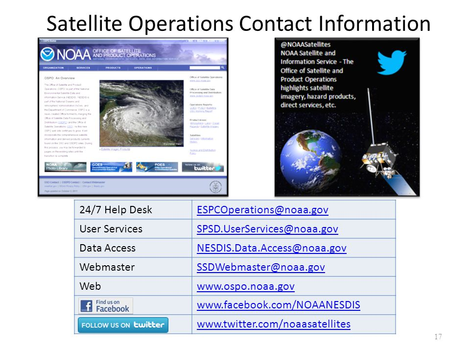 Satellite Operations Contact Information 24/7 Help Desk. ESPCOperations@noaa.gov. User Services. SPSD.UserServices@noaa.gov.