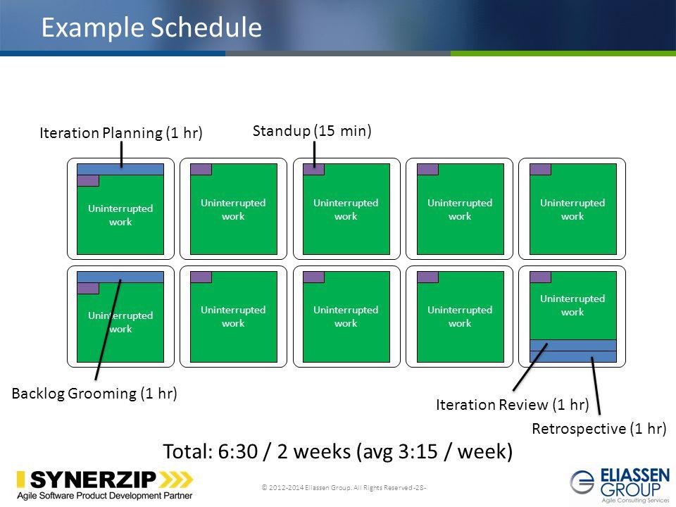 Example Schedule Total: 6:30 / 2 weeks (avg 3:15 / week)