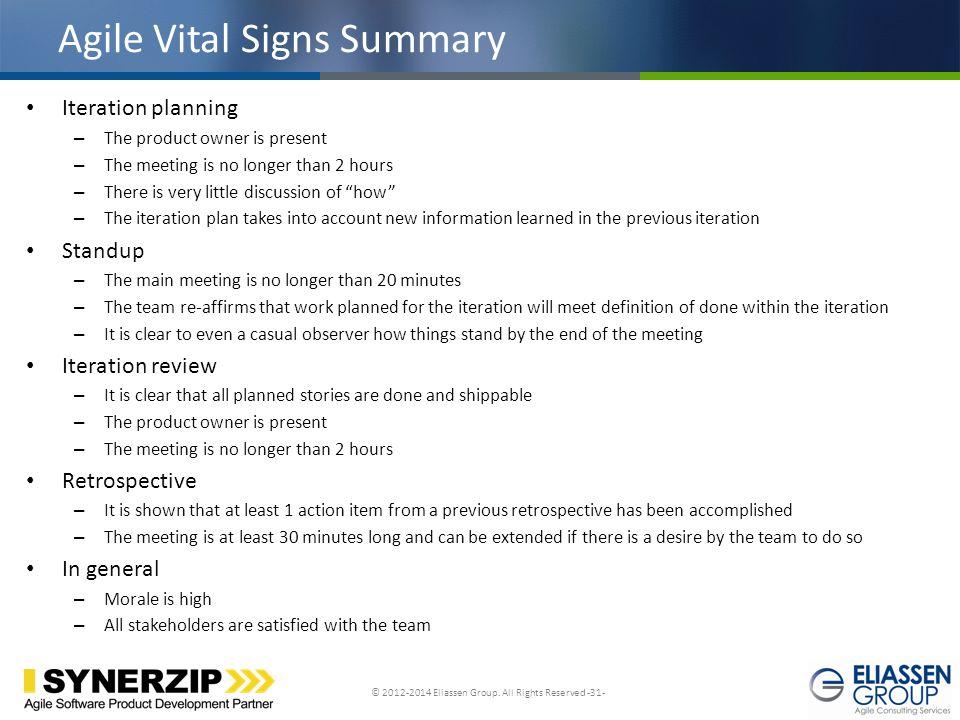 Agile Vital Signs Summary