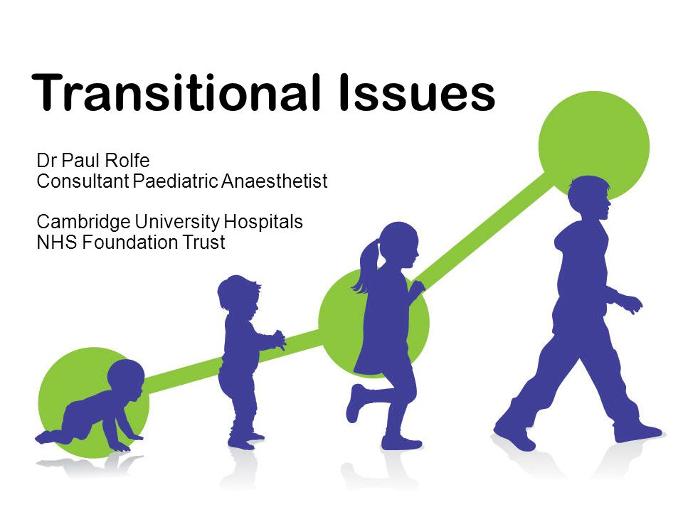 Transitional Issues Dr Paul Rolfe Consultant Paediatric Anaesthetist