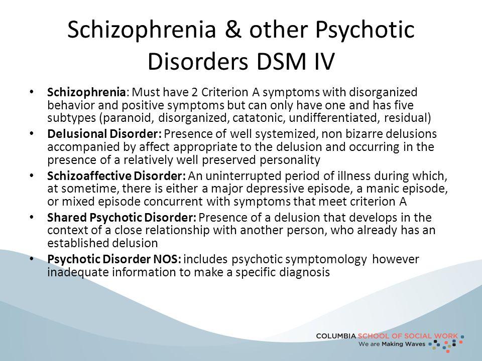 Schizophrenia & other Psychotic Disorders DSM IV