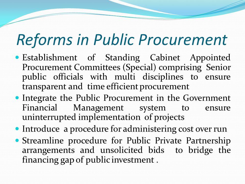 Reforms in Public Procurement