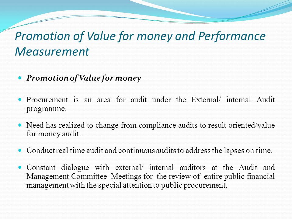 Promotion of Value for money and Performance Measurement