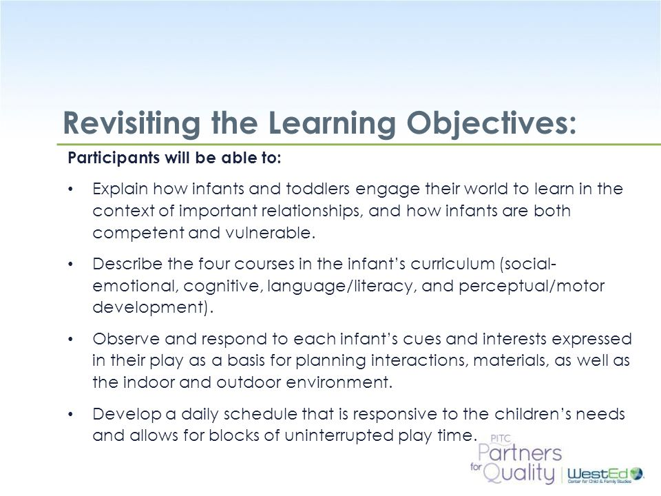 Revisiting the Learning Objectives: