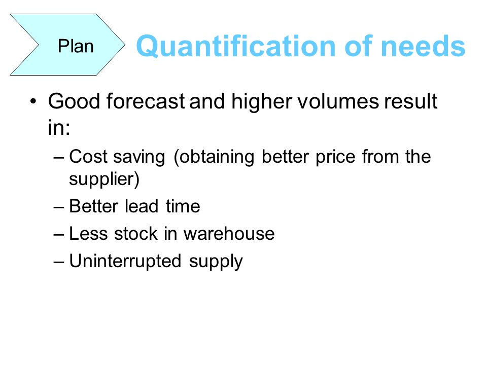 Quantification of needs