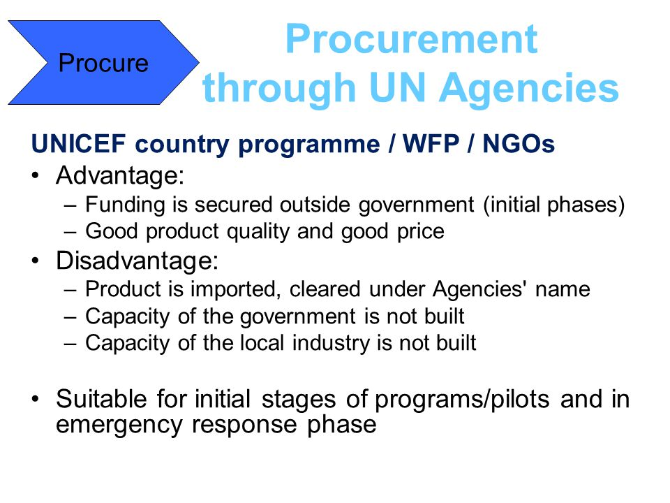Procurement through UN Agencies
