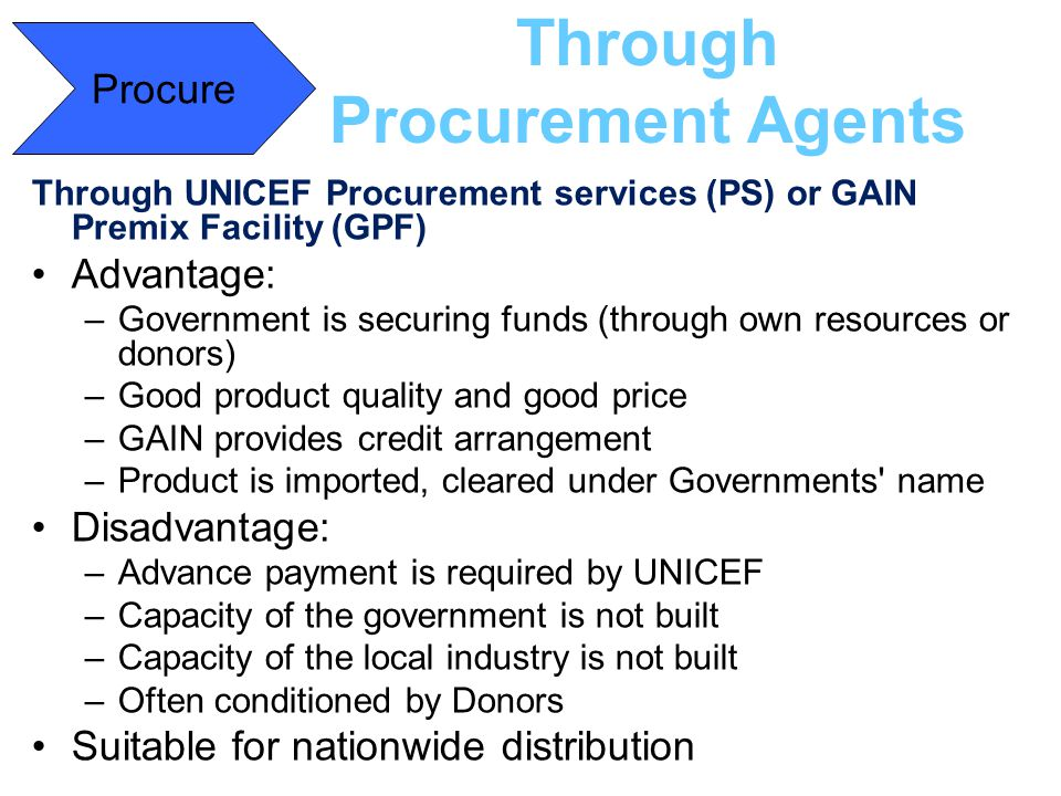 Through Procurement Agents