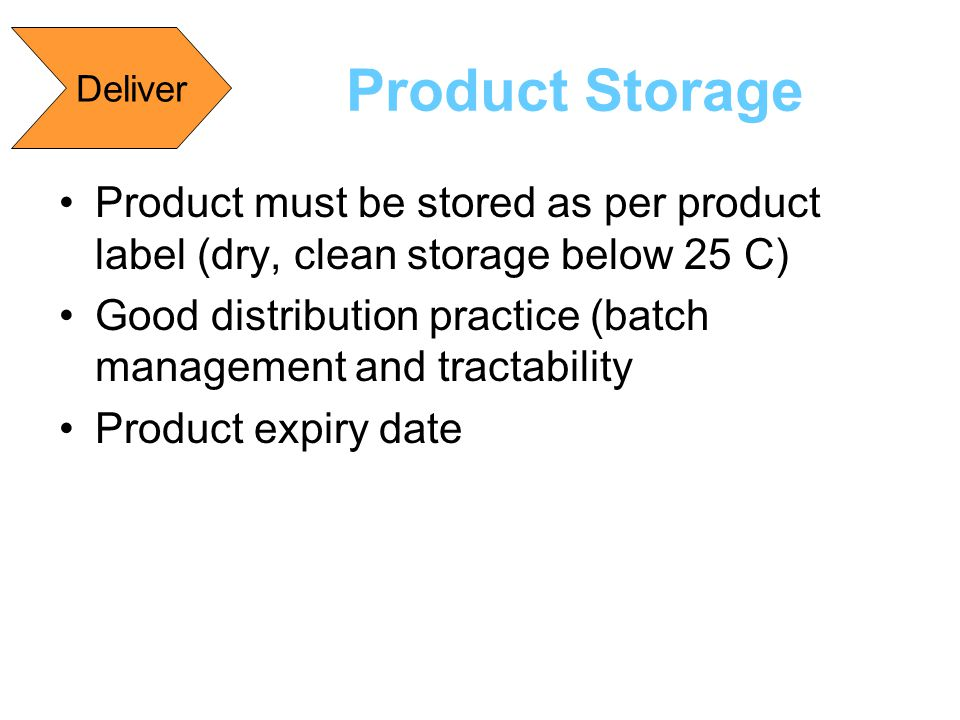 Deliver Product Storage. Product must be stored as per product label (dry, clean storage below 25 C)