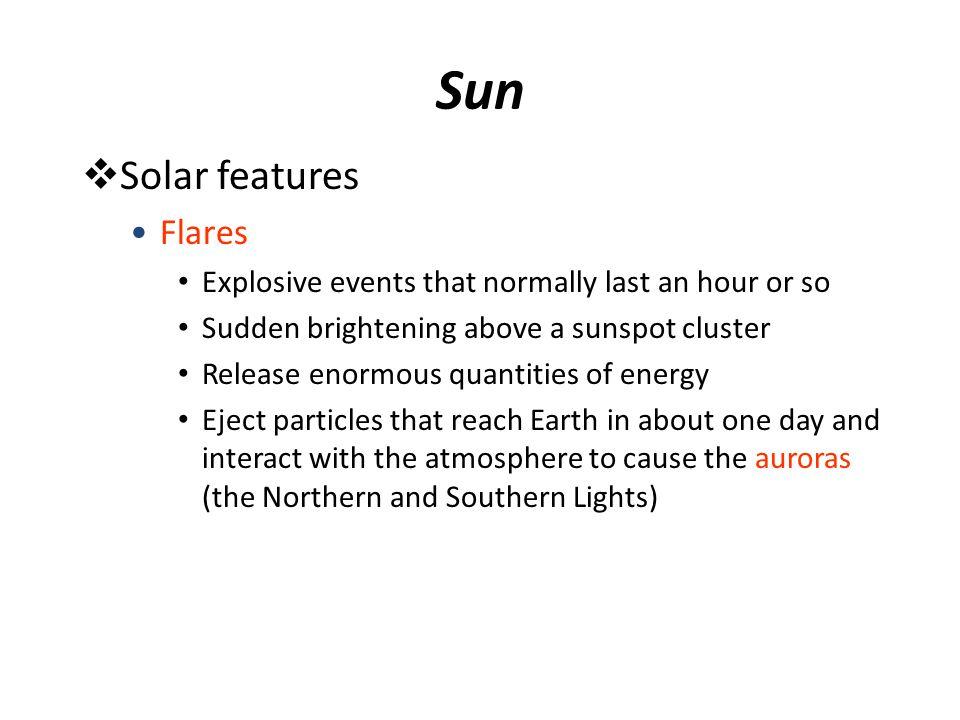 Sun Solar features Flares