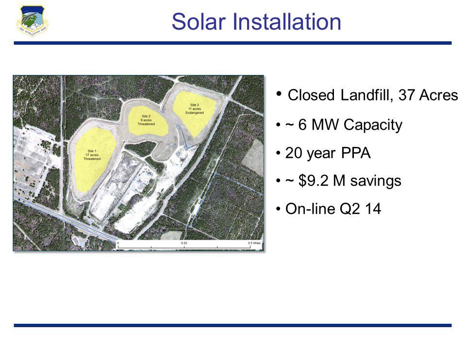 Solar Installation Closed Landfill, 37 Acres ~ 6 MW Capacity