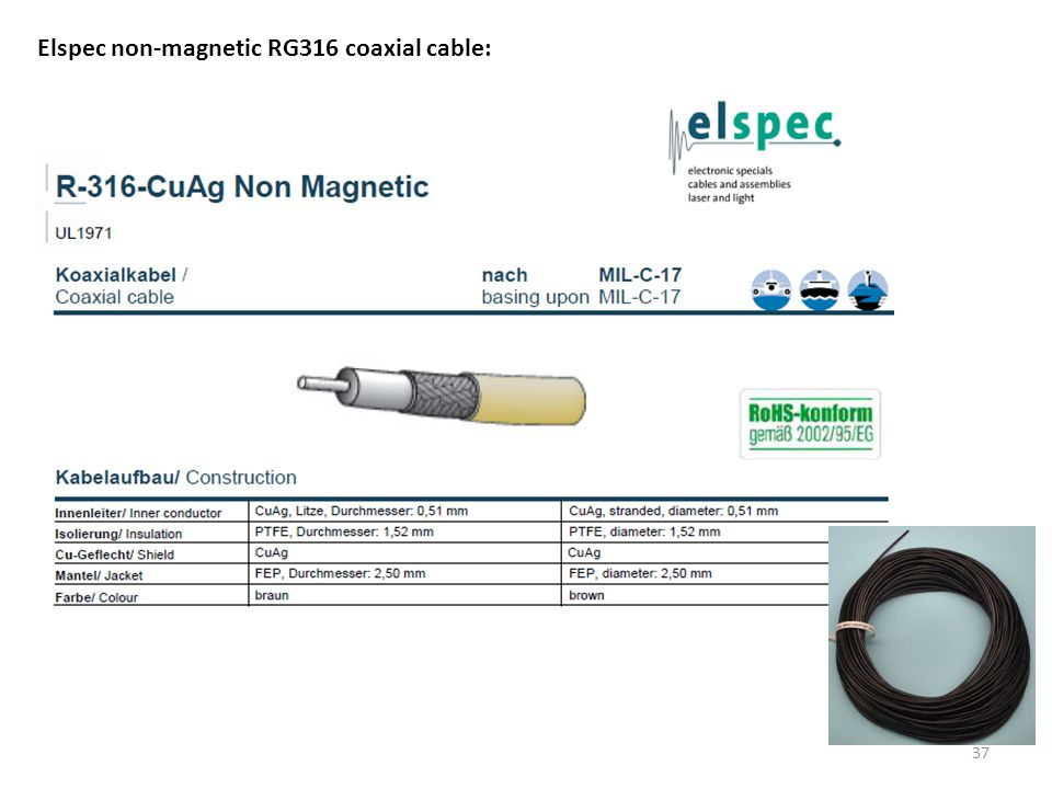 Elspec non-magnetic RG316 coaxial cable: