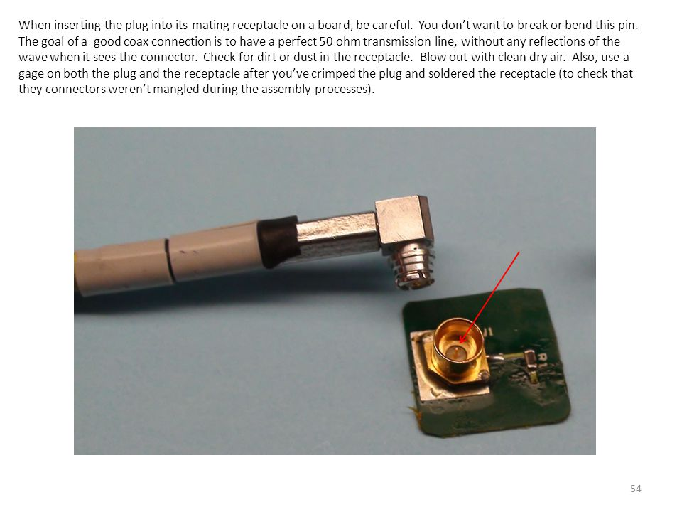 When inserting the plug into its mating receptacle on a board, be careful.