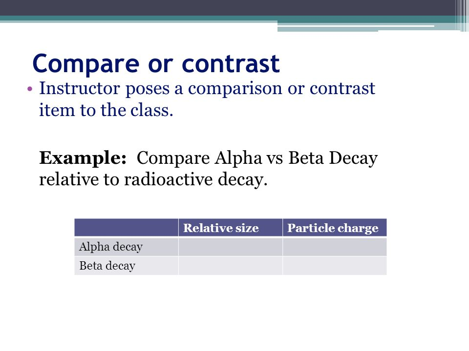 Compare or contrast Instructor poses a comparison or contrast item to the class.