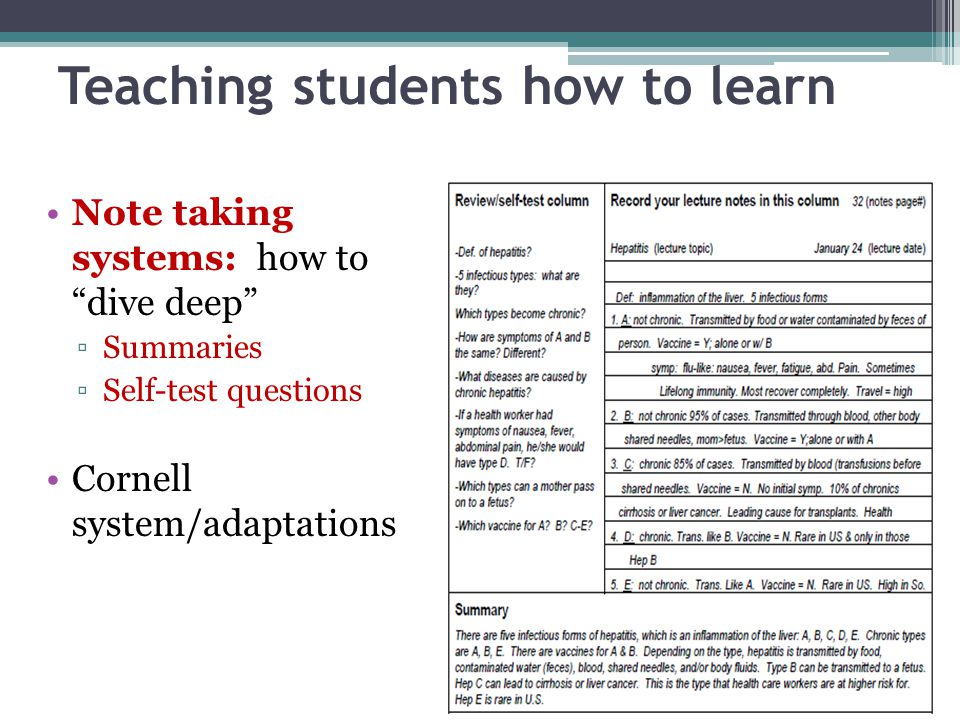 Teaching students how to learn