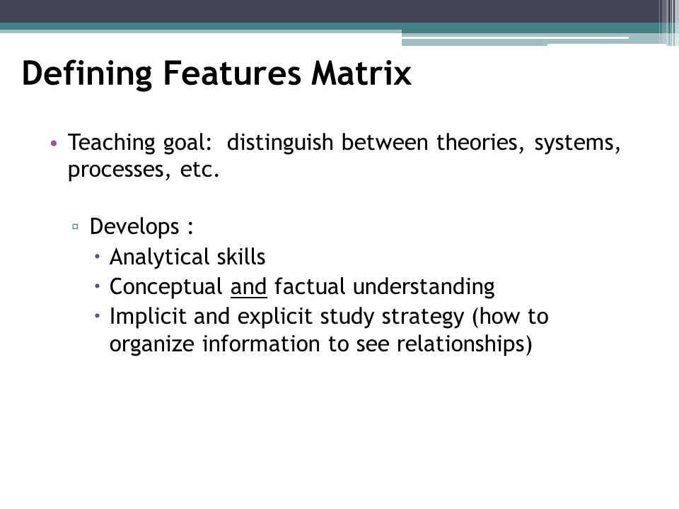 Defining Features Matrix