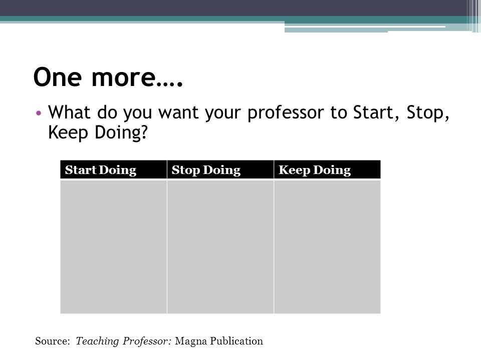 One more…. What do you want your professor to Start, Stop, Keep Doing