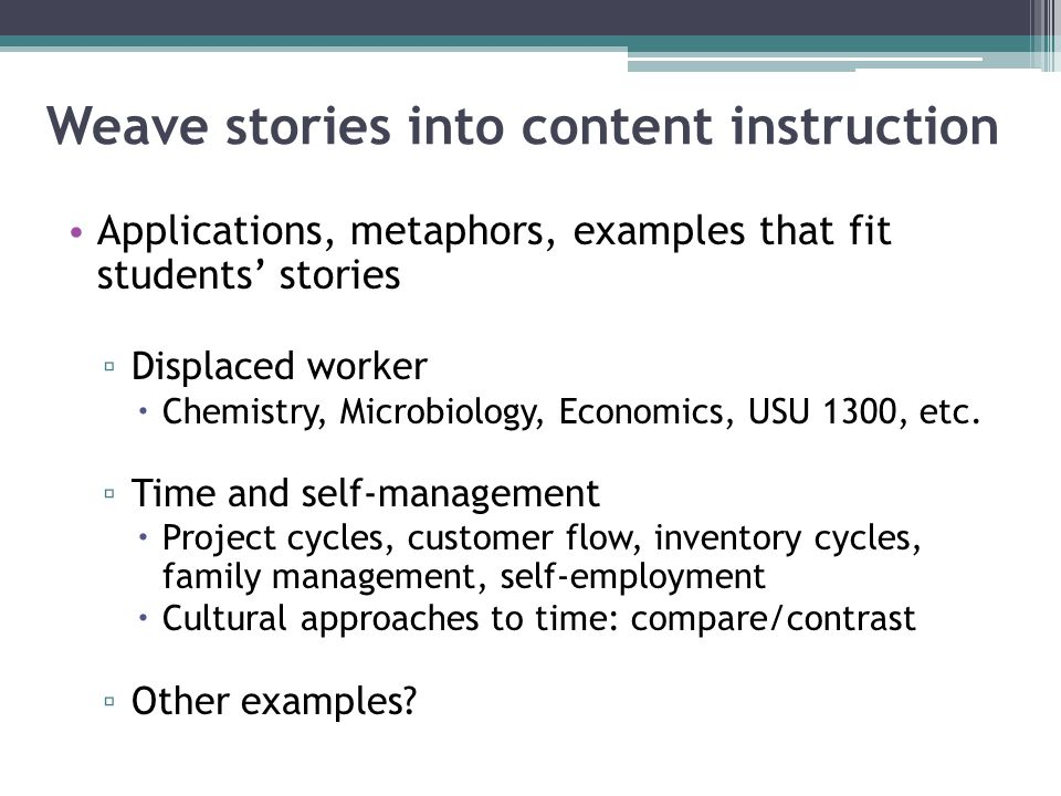 Weave stories into content instruction