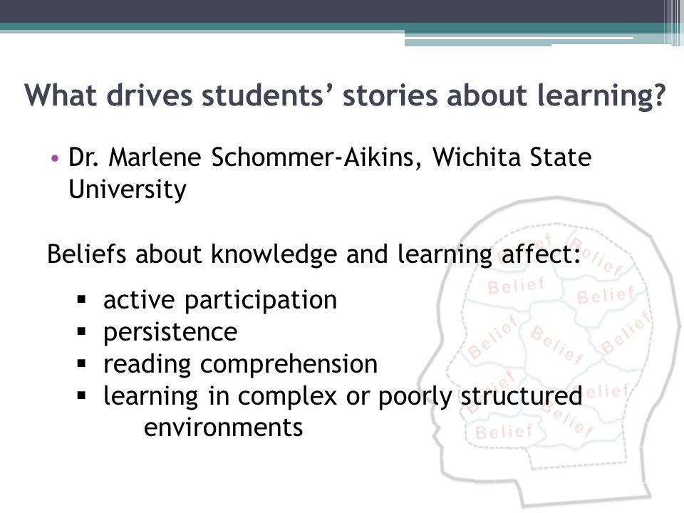 What drives students' stories about learning