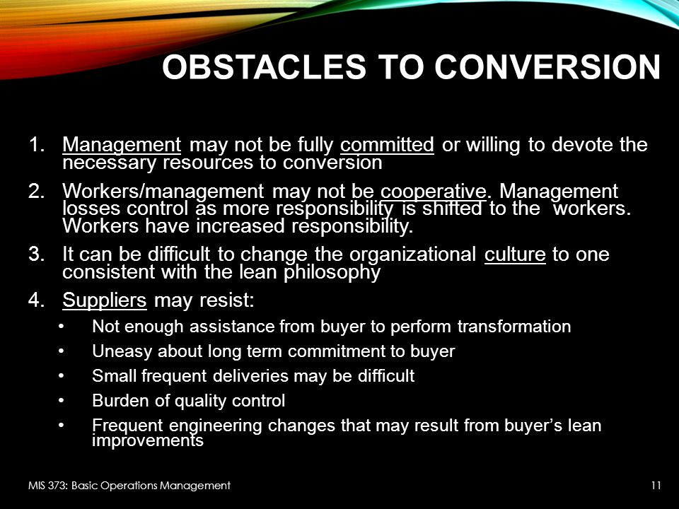 Obstacles to Conversion