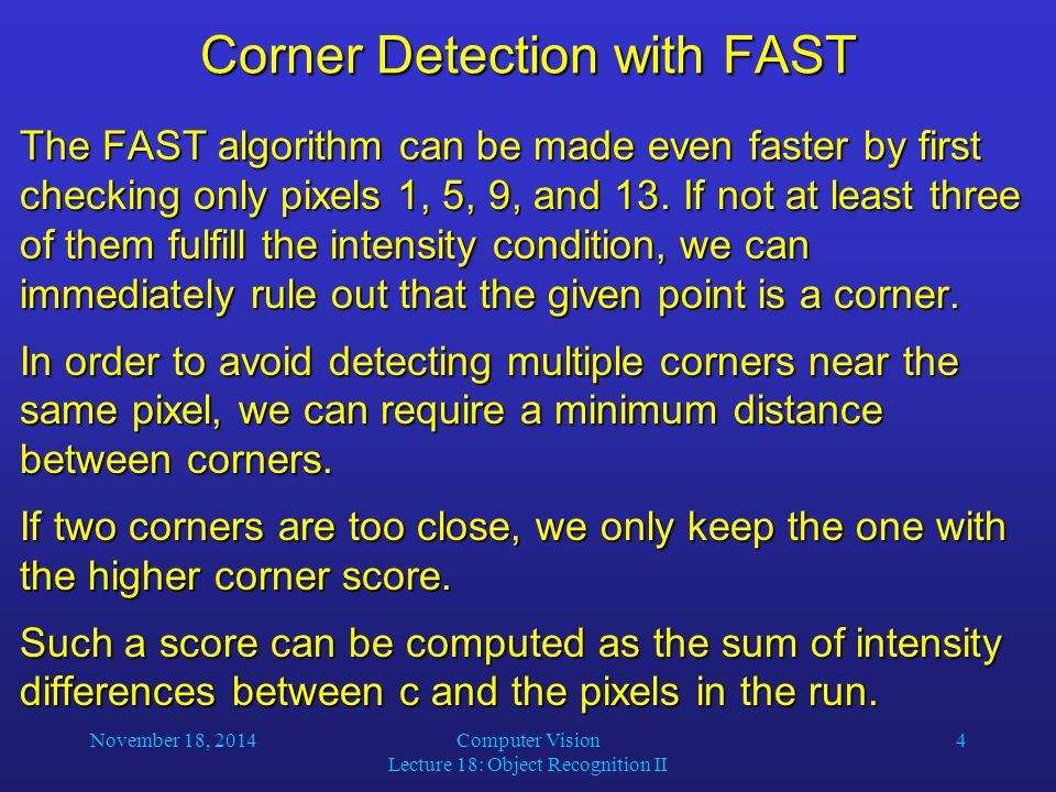 Corner Detection with FAST