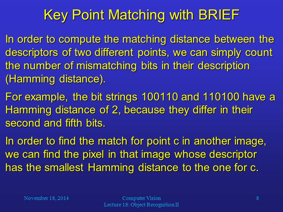Key Point Matching with BRIEF