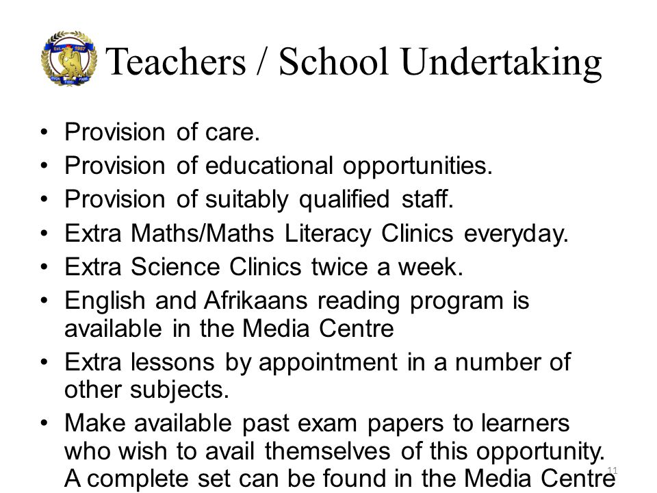 Teachers / School Undertaking