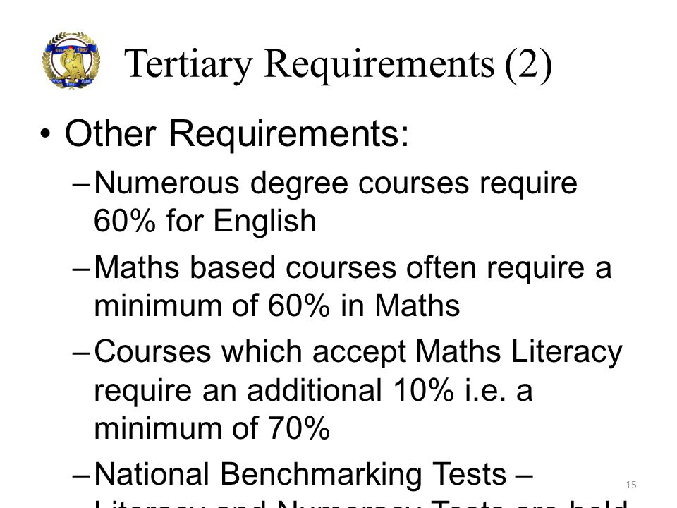 Tertiary Requirements (2)