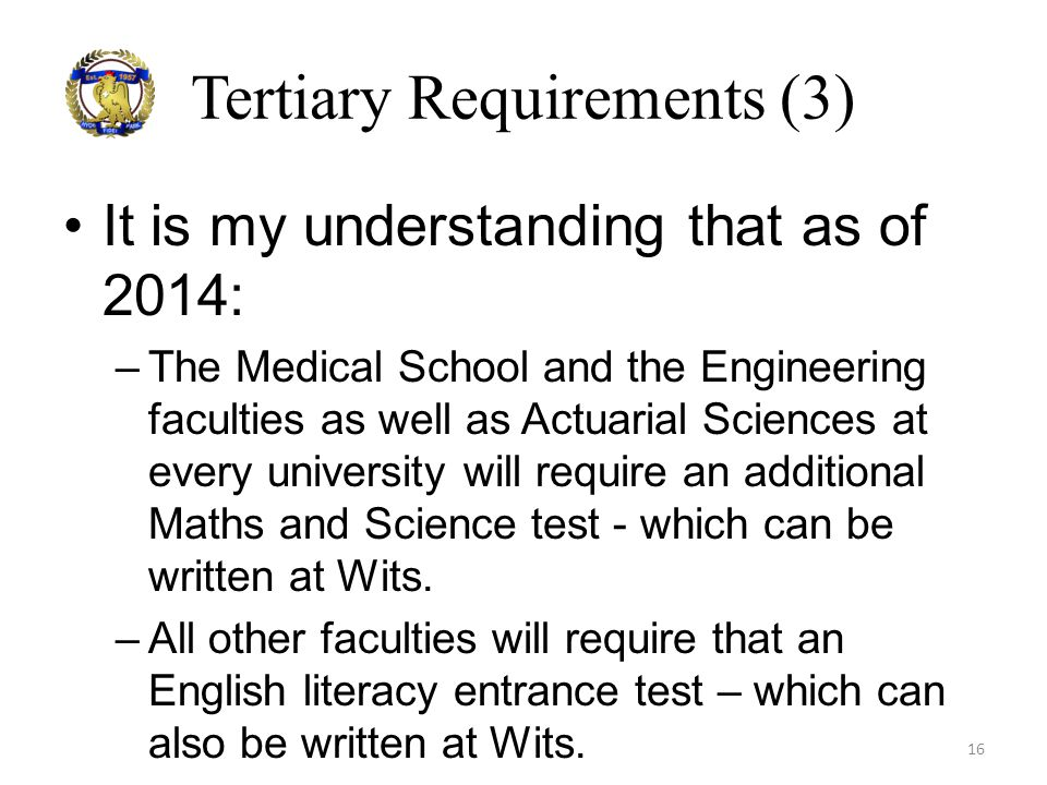 Tertiary Requirements (3)