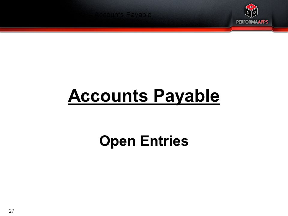 Finance Training Agenda – Accounts Payable
