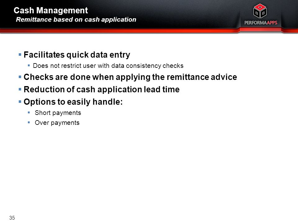Cash Management Remittance based on cash application